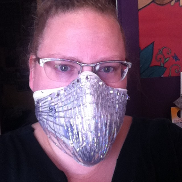 When in doubt, build a better mask.  Aka, if you are going to look ridiculous any way, do it with style and trim your mask with holo/glitter cording.  June 20014