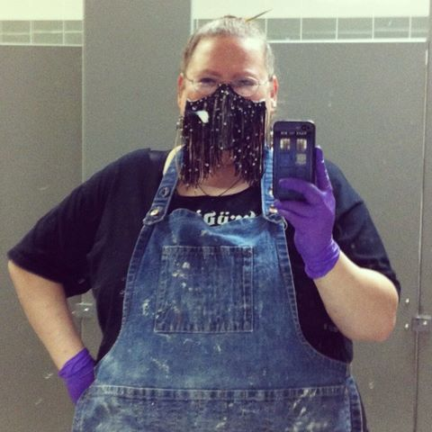 You can take the dirt out of the girl but you cant take the girl out of the dirt?  Me and my mask at the ceramic studio November 2013